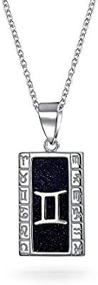 Navy Goldstone Celestial Astrology Horoscope Dog Tag Zodiac Signs Pendant Necklace For Women For Men 925 Sterling Silver