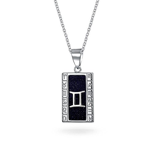 Navy Blue Goldstone Gemini Zodiac Sign Astrology Horoscope Dog Tag Pendant For Women Men Necklace 925 Sterling Silver