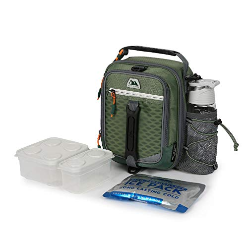 Arctic Zone High-Performance Dual-Compartment Lunch Box, Green, Includes Ice Pack, Food Container and Water Bottle (Artic Zone Bags Lunch)