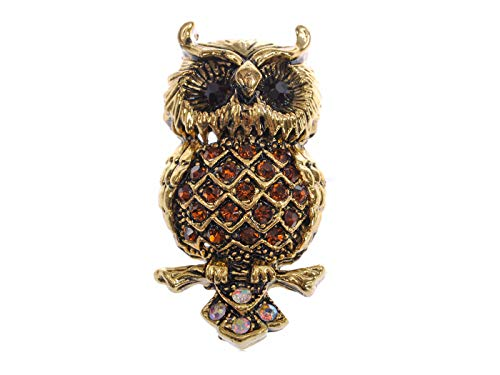 Alilang Smoked Synthetic Topaz Crystal Rhinestone Aged Chubby Grandfather Tree Owl Bird Brooch Pin -