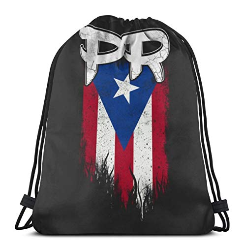 Gym Drawstring Bags Puerto Rico Pr Flag Lightweight Canvas Shoulder Bag Dance Bags Backpack Sport Sackpack For Men & Women