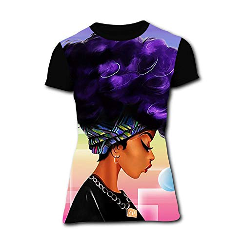 Women's T-Shirts Strong Black Woman Afro Words Art Natural Hair 3D Floral Print T-Shirt Comfy Casual Tops for Women Tees 3XL