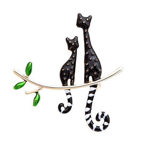 HUNANANA Enamel Cat Brooches Fashion Animal Pin Gold Color Plated Cute Accessories Gift