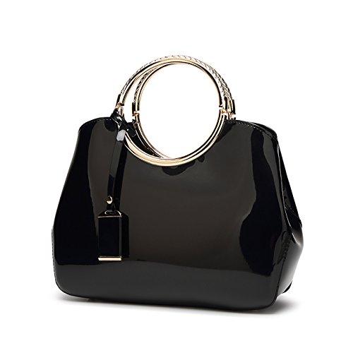 wallet handbag fashion bag handbag Black patent Women's bag leather Messenger shoulder ladies Tisdaini leather qt75AxEvEw