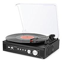 Tocadiscos Estereo con altavoces integrados, RCA, Toma de auriculares y MP3
