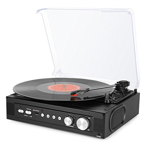 1byone Belt-Drive 3-Speed Mini Stereo Turntable with Built in Speakers, Supports Vinyl to MP3 Recording, USB MP3 Playback, Stereo Headphone Jack, Pitch Control and RCA Output, Black