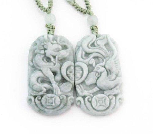 Jadeite Jade Dragon Phoenix Love Pair Amulet Pendant (Jade Amulet)