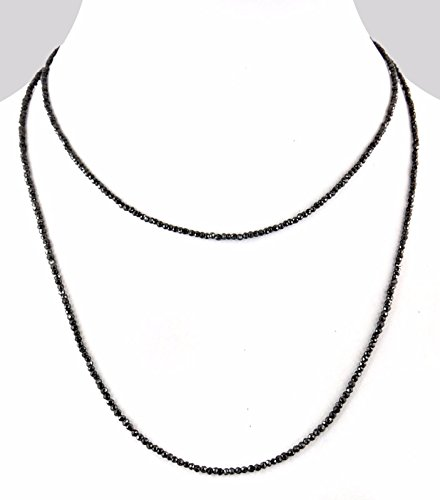 Barishh 3mm Black Diamonds Necklace.FREE Studs.26 inches.55cts.Certified.18kGold Clasp Very Elegant by Barishh