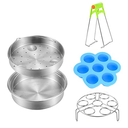 Steamer Basket Rack Sets for Instant Pot - Vegetable Steamer Pan Tray Trivet with Silicone Egg Bites Molds Combo - Fits for Pot 6,8 Qt Instant Pressure Cooker DUO60