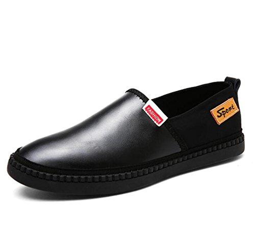Mocasines cómodos Caballero Cuero Slip-ons Low Top Deslizante Wareable Moda Soft Zapatos Zapatos Ocio Tamaño UE 39-44 Black