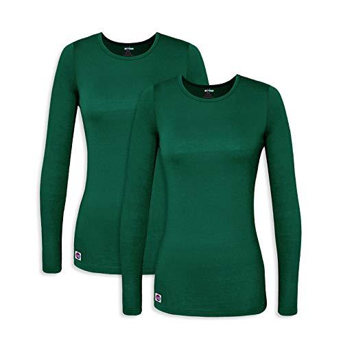 Sivvan 2 Pack Women's Comfort Long Sleeve T-Shirt/Underscrub Tee - S85002 - Hunter Green - 3X