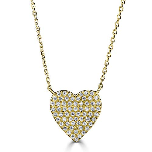 Eleganti 14K White, Rose, or Yellow Gold Heart Pendant Necklace with Natural Certified Diamonds for Women (Yellow Gold - 11.7mm)
