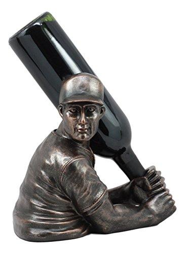 (Ebros Focus Home Run Batting Baseball Player Wine Holder Statue 9.5