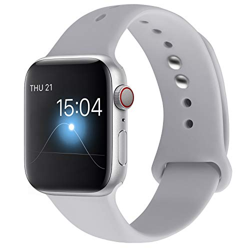 YOUKEX Sport Band Compatible with Apple Watch Band 38mm 40mm 42mm 44mm, Soft Silicone Strap Wristbands Replacement for Series 4/3/2/1 Women Men, S/M M/L (Grey, 38mm/4omm s/m)