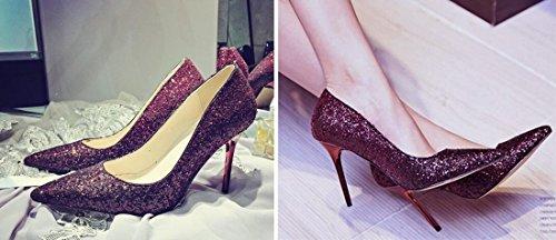 Scarpe Scarpes Da Vino Qiyun Pecora Donna Punta Rosso z Del Partito A Paillettes Discoteca Alto Tacco Gradiente 4PCqX1wP