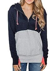 CILKOO Women Quarter Zip Color Block Pullover Sweatshirt Tops with Pockets(S-XXL)