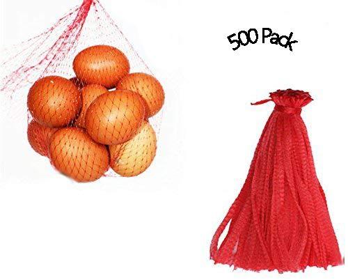 CUGBO 500pcs 12 Mesh Produce Bag Reusable Net Bag Nylon Toys Fruits Vegetables Drawstring Storage Poly Bags