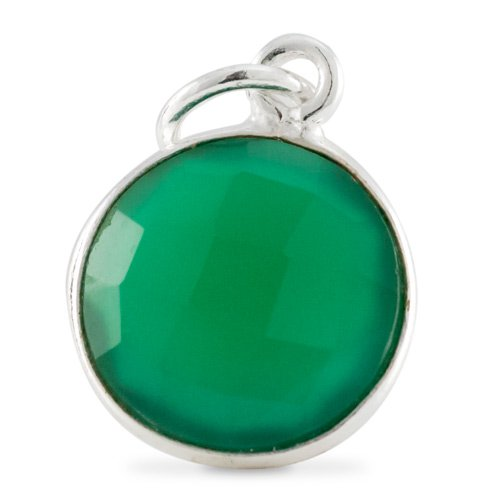 (Round Pendant Green Onyx Sterling Silver 11mm (1-Piece))