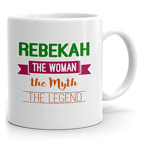 Personalized Rebekah Mug - The Woman The Myth The Legend - Gifts for Women, Wife, Mom, Girlfriend - 11oz White Mug - Green