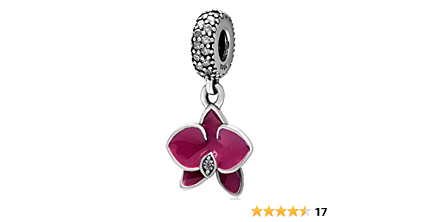 Orchid Charm 925 Sterling Silver Flower Charm with Transparent Cz Stone and  Fuschia Enamel for Pandora Bracelet (A)