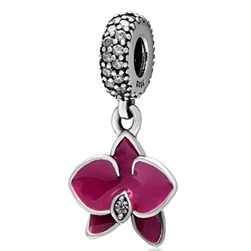 Orchid Charm 925 Sterling Silver Flower Charm with Transparent Cz Stone and Fuschia Enamel for Pandora Bracelet - Charm Stone Flower
