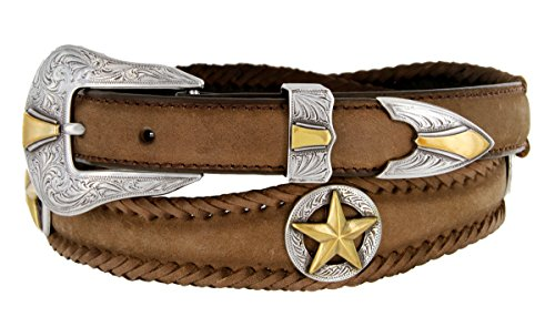 Gold Nocona Star Conchos Western Leather Scalloped Belt Brown (Nocona Mens Concho)