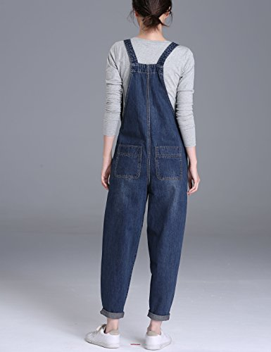 Yeokou Women's Casual Denim Cropped Harem Overalls Pant Jeans Jumpsuits, Blue, X-Large by Yeokou (Image #3)