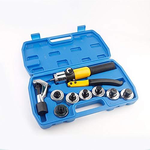 フレアツール 手動油圧ライザー(7ヘッド)、銅パイプ用空調フレアリングツール、ポータブルプラスチックケース