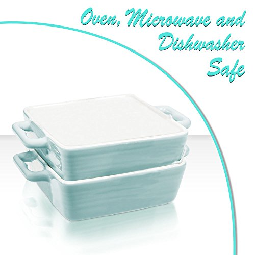 Mini Porcelain Baking Dish Pan with Handles ~ Casserole, Quiche, and Pie Baker - Oven, Microwave, and Dishwasher Safe (Pastel Blue, Set of 2)