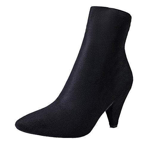 Schuhe Tube Knöchel HeelsZipper Boots Stiefel Flock Casual Stiefeletten Damenstiefel Herbst Party Booties Boots Mitte Damen Sexy Toe Schwarz Stiefel High Sonnena Schuhe Freizeit Spitz RwxzF6qfx