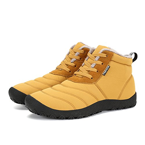 Jackshibo Donna Uomo Foderato Di Pelliccia Slip On Snow Boots Stivali Invernali Impermeabili Cammello