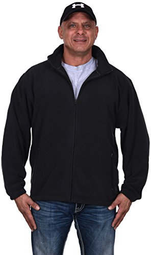 AFC Men's Full Zip Midweight Polar Fleece Jacket in Black (Large) - Printed Full Zip Fleece