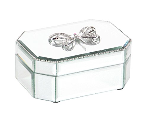 Deco 79 35776 Octagonal Wood and Glass Dragonfly Box, Silver/Reflective
