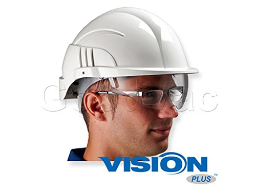 Centurion Vision Plus ABS Helmet w/ Integrated Retractable Visor/Safety Glasses. Lightweight Design with Ratchet Headband - White by Centurion (Image #3)