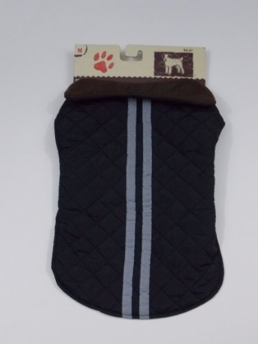 "Quilted Black w/ Grey Stripes Dog Coat Size M (14-15"") for sale  Delivered anywhere in USA"