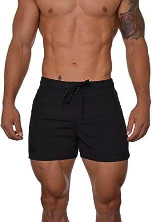 YoungLA Men's Bodybuilding Lift Shorts W/ Zipper Pockets Small AllBlack
