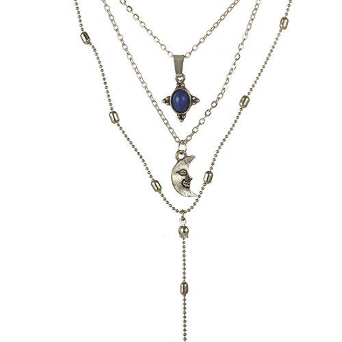 (Loweryeah Necklace Imitation Emerald Moon Pendant Multi-Layer Necklace Bohemian Style Necklace)