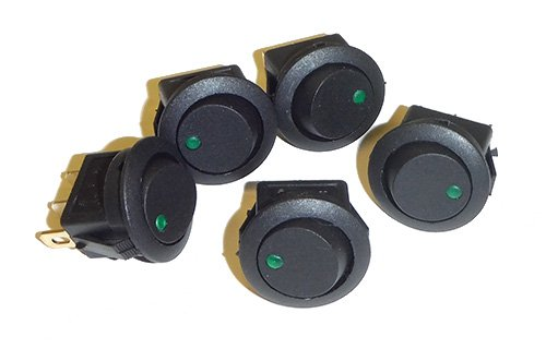 (5 Pack of Round Rocker Switches 12V with Green LED)