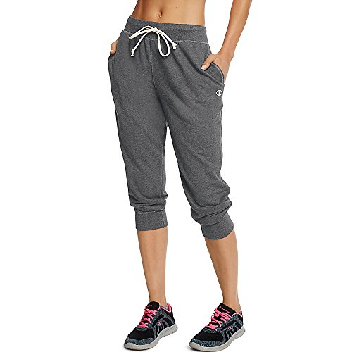 Champion Women's French Terry Jogger Capri, Granite Heather, XL