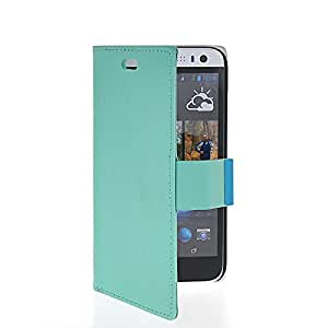 CASEDISCOVER Side Leather Case Side Flip Card Slot Shell Stand Back Cover For HTC Desire 616 (D616W) Azure