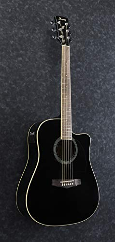 Ibanez-PF15ECE-BK-6-Strings-Acoustic-Guitar-Right-Handed-Black-High-Gloss-Rosewood-Fretboard
