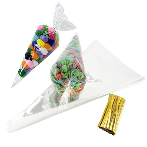 Candy Shower Shaped Baby (JCX 100pcs Clear Cone Shaped Treat Bags with Twist Ties for Cookie Candy Gift Cellophane Bags)