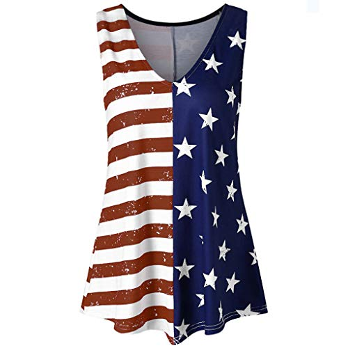 (TWinmar -Women Girls Sexy V-Neck Sleeveless Tank Tops Fashion Comfortable Ruffled Hem Tops Stripe America Flag Printed Vest T-Shirt (Wine,L))