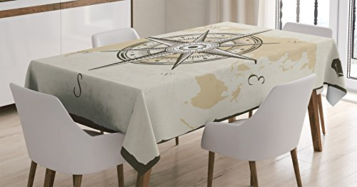 Ambesonne Compass Decor Tablecloth, Nautical Compass on Background of Old Map with Torn Border Frame Illustration Print, Rectangular Table Cover for Dining Room Kitchen, 52x70 Inches, Beige (Nautical Desk)