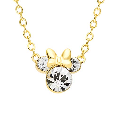 Disney Minnie Mouse Crystal Birthstone Silver Plated Pendant Necklace, April Yellow Clear Crystal