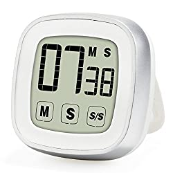 Upgraded Novelty Touch Screen Digital Kitchen Timer, Large Display Loud Alarm Magnetic Back & Stand Countdown and up Cool Electric Timer