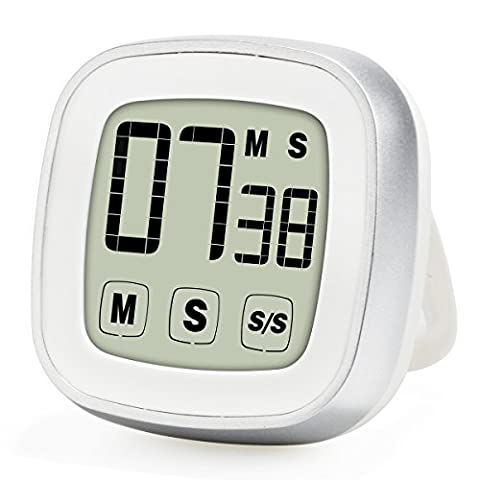 Upgraded Novelty Touch Screen Digital Kitchen Timer, Large Display Loud Alarm Magnetic Back & Stand (Libero Su Font)