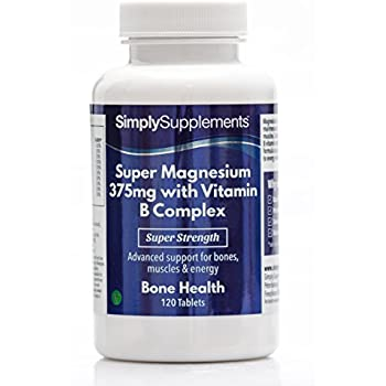 Super Magnesium 375mg with Vitamin B Complex | Bone Health | 120 Tablets| 100%