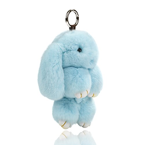 USATDD Easter Bunny Doll Keychain Soft Cute Rex Rabbit Fur Pom Pom Fluffy Plush Pendant Key chain Car Handbag Keyring Womens Gril Charms 7