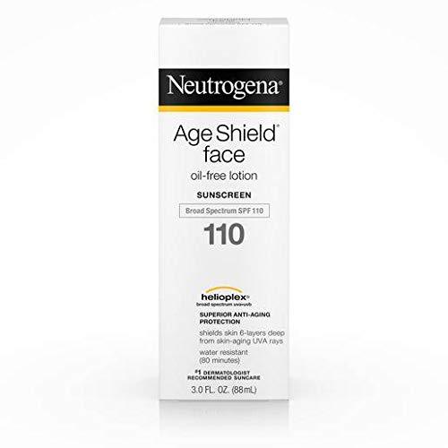 Neutrogena Age Shield Broad Spectrum SPF 110 Oil Free Sunblock Face Lotion, 3 Fluid Ounce - 12 per case.